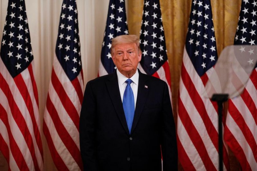US President Donald Trump attends a veterans event in the East Room at the White House in Washington, US, September 23, 2020 — Reuters