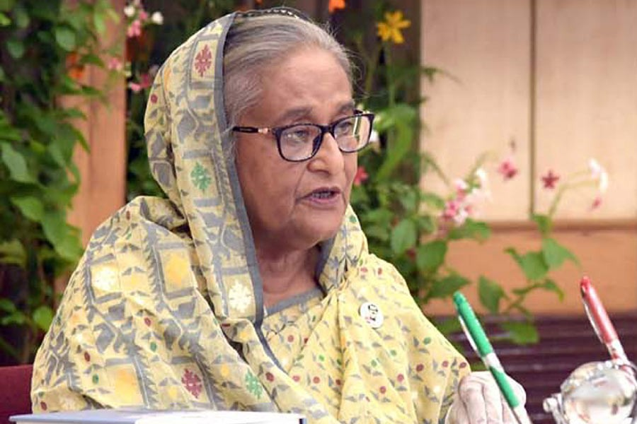 Prime Minister Sheikh Hasina addressing a virtual function commemorating the historic Bangla speech by Father of the Nation Bangabandhu Sheikh Mujibur Rahman at the United Nations General Assembly (UNGA) –PID Photo