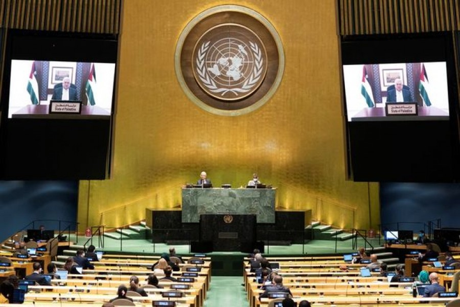 Palestinian President Mahmoud Abbas speaks virtually during the 75th annual UN General Assembly, which is being held mostly virtually due to the coronavirus disease (Covid-19) pandemic in the Manhattan borough of New York City, New York, US, September 25, 2020. United Nations/Handout via REUTERS