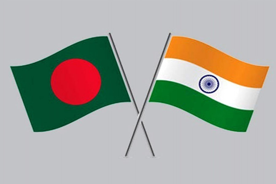 Flags of Bangladesh and India are seen cross-pinned in this photo symbolising friendship between the two nations