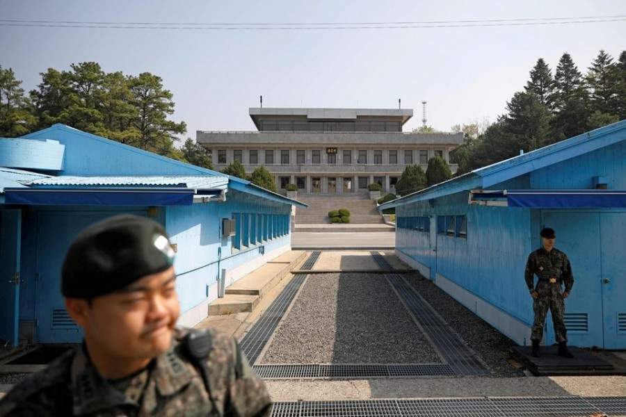 South Korean soldiers stand guard at the truce village of Panmunjom inside the demilitarized zone (DMZ) separating the two Koreas, South Korea on May 1, 2019 — Reuters/Files