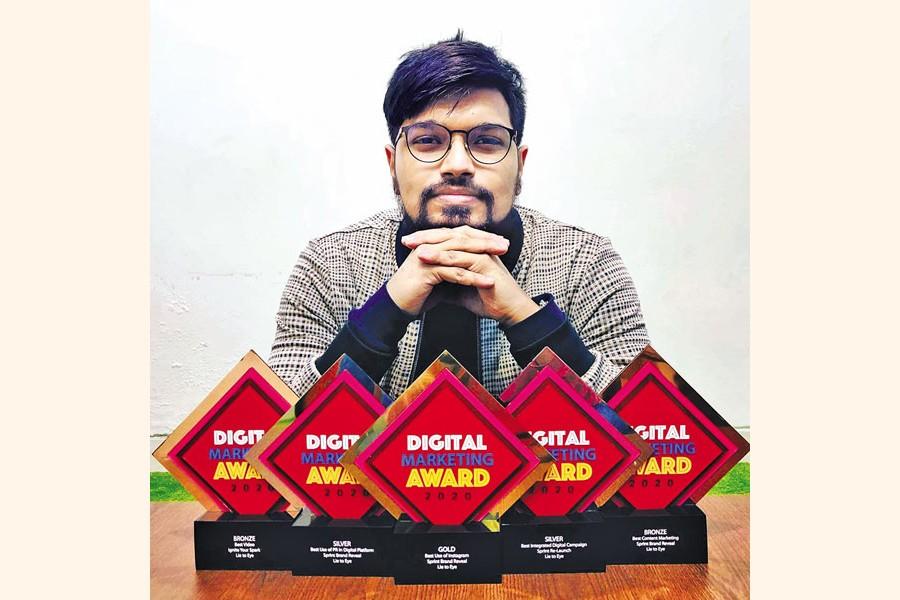 Mashfique Khalid with his digital marketing awards